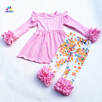AICTON New FALL Winter 2 Pieces Outfits Set 100 Cotton Suit Baby Floral Print Pants Girls