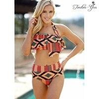 High Cut Bikini Set Brazilian Women Swimwear High Waist Swimsuit Push Up Print Bikinis Sexy Halter Monokini Bathing Suit 2018