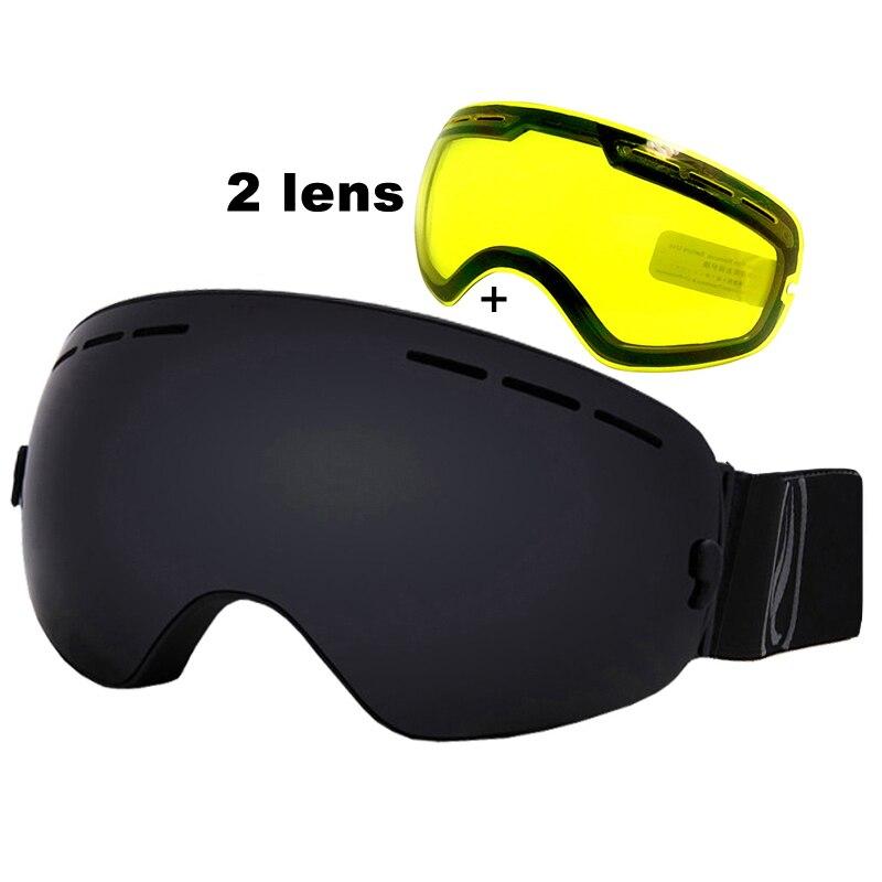 Prix pour Ski Lunettes UV400 Anti-brouillard Ski Lunettes Double Objectif de Neige Ski Snowboard Lunettes Ski Lunettes Avec Nuit Lentille de Vision
