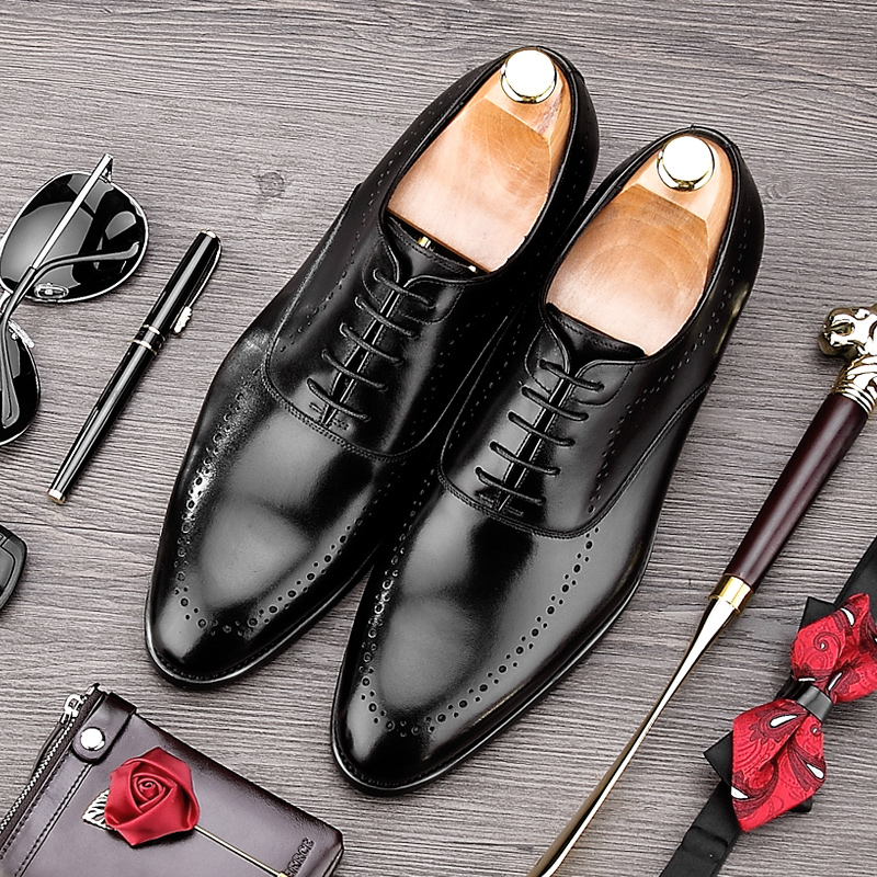 Luxury Brand Man Wedding Shoes Genuine Leather Breathable Dress Oxfords Pointed Toe Formal Men's Handmade Business Flats MG10 mens genuine leather pointed toe buckle leather shoes crocodile print oxfords business man wedding shoes formal dress shoes