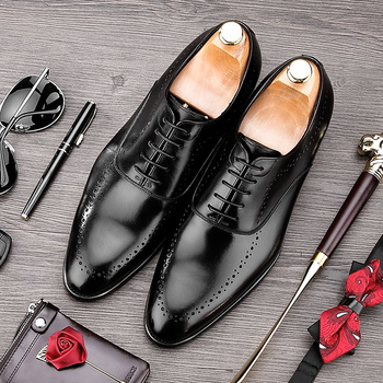 Luxury Brand Man Wedding Shoes Genuine Leather Breathable Dress Oxfords Pointed Toe Formal Men's Handmade Business Flats MG10