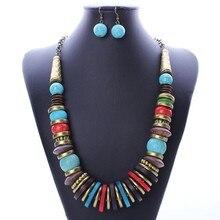 2016 Nueva Moda Largo Collar de perlas de resina Que Restaura el bolso de Imitación de la turquesa del collar del pendiente de la joyería Femenina NK1047