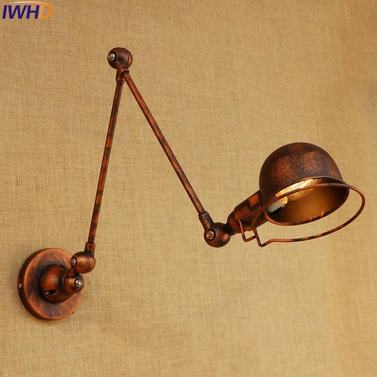 Adjustable Long Swing Arm Wall Light Fixtures <font><b>Edison</b></font> Retro Vintage Wall <font><b>Lamp</b></font> Loft Style Industrial Wall Sconce Appliques <font><b>LED</b></font> E14