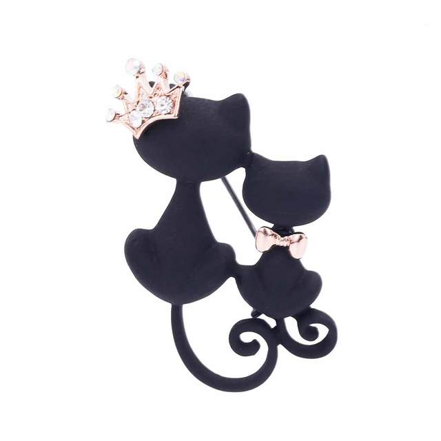 Kiss Wife Cute Parents Smooth Black Cat Brooch Crystal Crown Queen