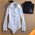 free&fast shipping tops women new fashion 2017 long sleeve OL black botton white black color  cotton body shirt women #4013