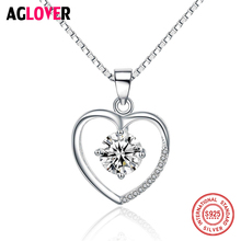 AAA 100% 925 Silver Chain Necklace Valentine's Day Romantic Heart Pendant Necklace Austrian Crystal Jewelry Women Free Shipping все цены