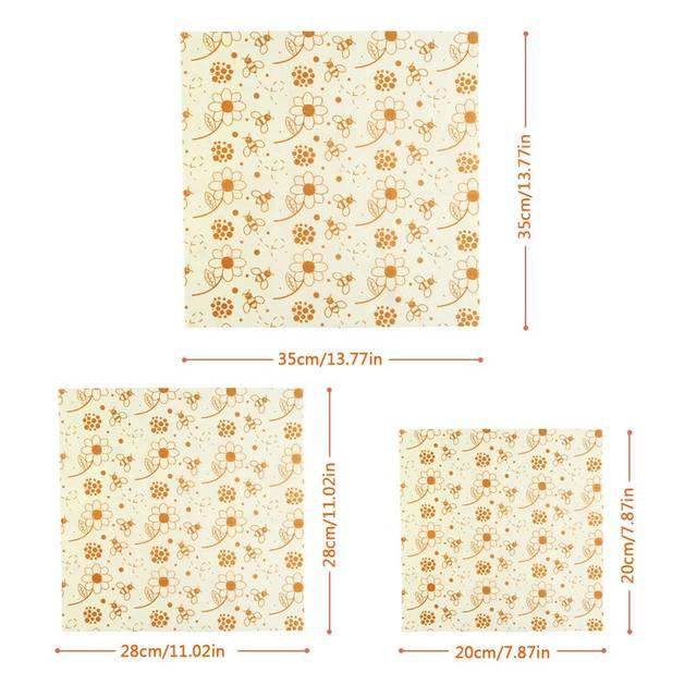 3pcs Beeswax Wrap Cloth + 3Pcs Degradable Organic Cotton Mesh Storage Bag Eco Friendly Reusable Food Fresh Keeping Sets 2
