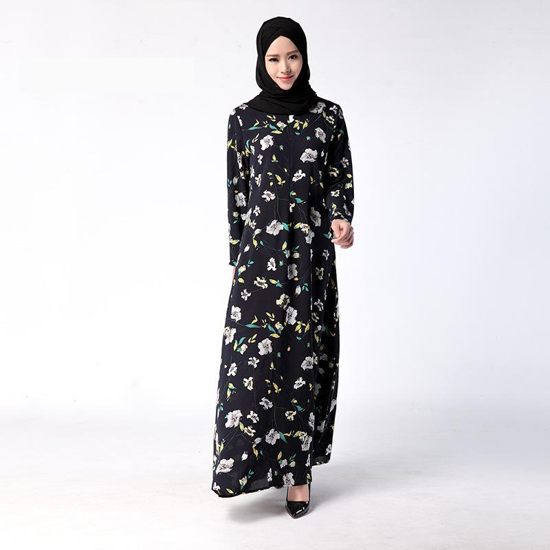 Hot! Long Sleeve Maxi Dress In Ethnic Style Robe Femme 2017 Fashion Plus Size Women Clothed O-neck Floral Printed Muslim Dresses