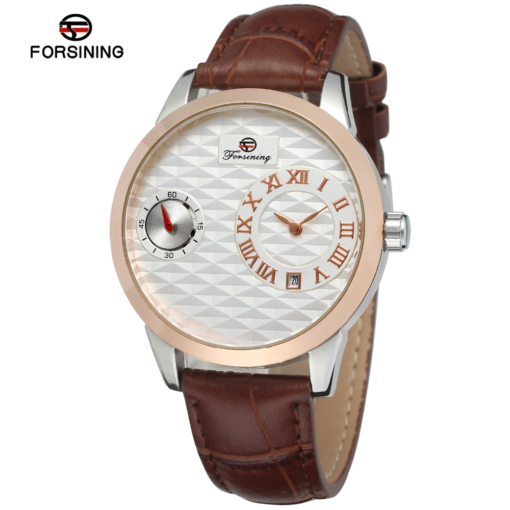 FORSINING Men Luxury Brand Roman Number Genuine Leather Strap Watch Quartz And Automatic Wristwatches Gift Box Relogio Releges