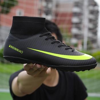 4547ea1a Мужские футбольные шипованные бутсы тренировочные футбольные бутсы высокие  ботильоны спортивные кроссовки длинные шипы спортивная обувь .