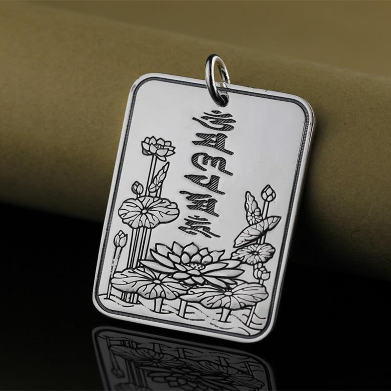 999 Sterling Silver Jewelry Pendant Necklaces Vintage Handmade Lotus Sutra Pendants Jewelry For Women&Men Fine Jewelry