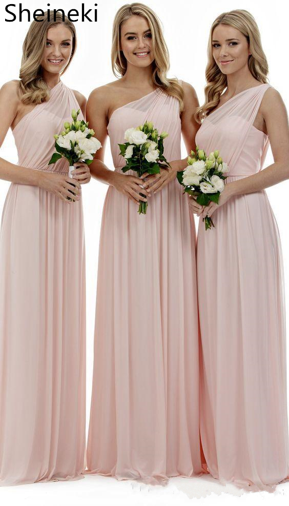 Simple Pink Chiffon Bridesmaids Dresses Long Sexy One Shoulder Cheap Country A Line Wedding Party Gowns Vestido De Festa Longo