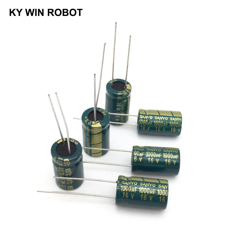 10 Pcs Aluminum Electrolytic Capacitor 1000 UF 16 V 10 * 16 Mm Frekuensi Tinggi Radial Electrolytic Kapasitor
