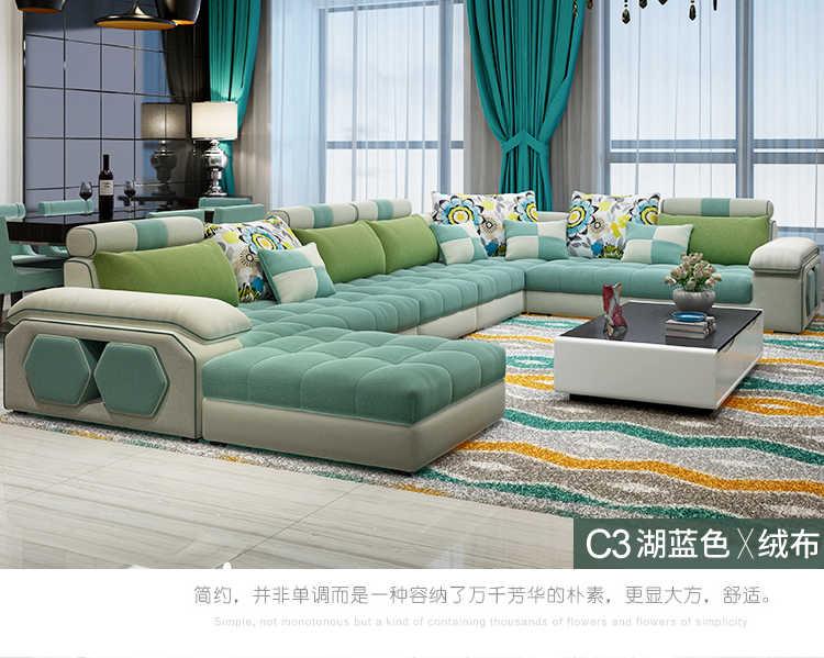 Living Room Sofa set Home Furniture modern linen hemp velvet fabric  sectional sofas U shape big muebles de sala moveis para casa