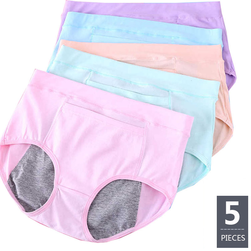 Feilibin 5Pcs/lot Leak Proof Menstrual Period Panties Women Underwear Physiological Pants Healthy Cotton Seamless Ladies Panties