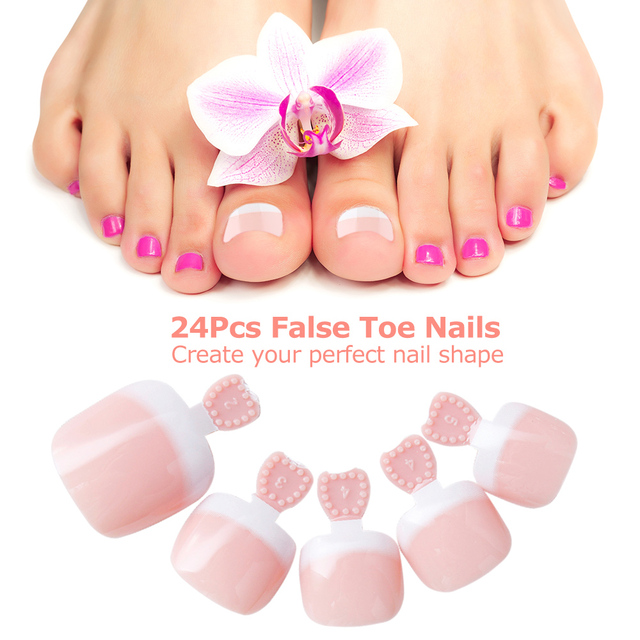 24Pcs Foot False Toenail Tips Set French Full Cover Fake Toe Nail Stickers