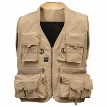LumiParty Adult Multi Pocket Fishing Vest Breathable Quick Dry Active Wear Jacket for Outdoor Sports XXXL Khaki