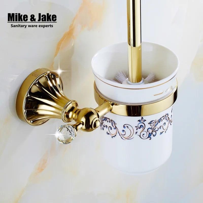 De Oro de lujo crystal wc portaescobillas con taza De Cerámica/de decoración del