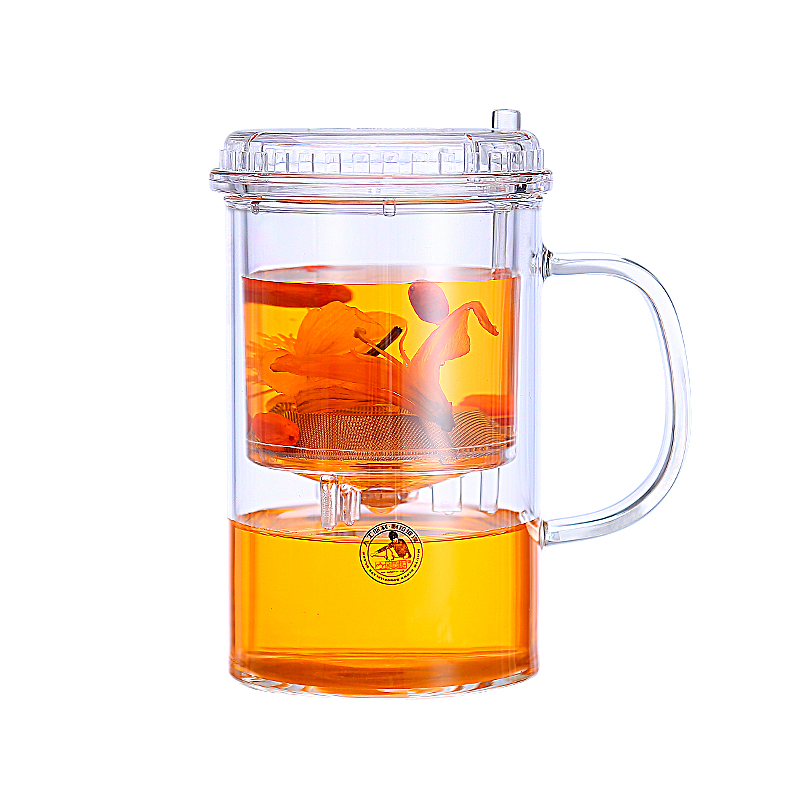 Round heat-resistant glass cup with filter simple tea mug with cover office drinking