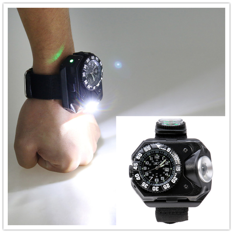 Multifunction USB Rechargeable Wristwatch Lamp Wrist LED Flashlight Watch Light with Compass Bracelet Torch for Night Running super bright led watch flashlight torch lights compass outdoor sports mens fashion waterproof rechargeable wrist watch lamp