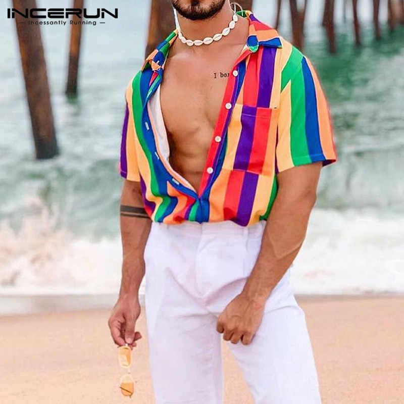 Zomer Kleurrijke Gestreepte Mannen Shirt Revers Streetwear Blouse Casual Loose Korte Mouw Fashion Hawaiian Beach Shirts Incerun 2020