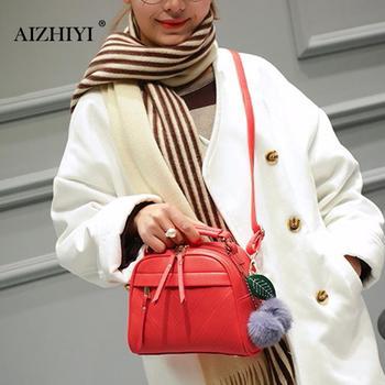 Women Square PU Leather Handbags Chain Messenger Bags With Ball Female Shoulder Crossbody Bag Sling Bolsa Ladies Party Handbags 1