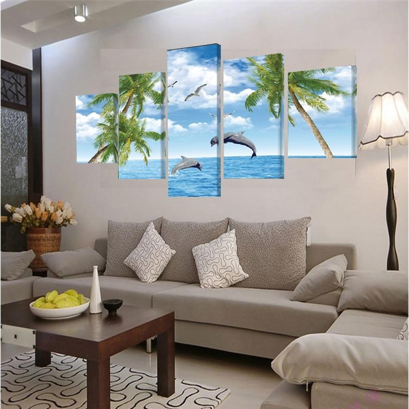 Pintura de la lona la decoraci n del hogar de la pared cuadros para la sala 5 unidades lienzo - Decoraciones para hogar ...