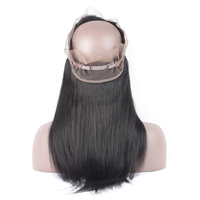 Sparkle Diva Pre-plucked 360 Lace Frontal Closure With Baby Hair Peruvian Remy Straight Human Hair Natural color 10-24 inch