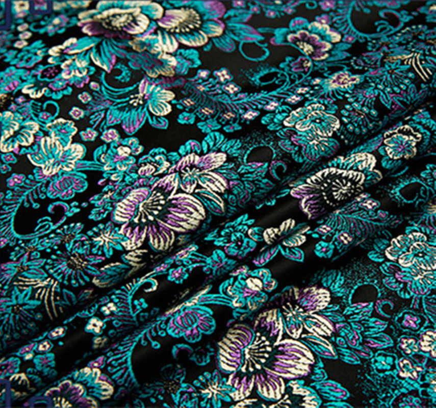 Tissu de brocart de Jacquard métallique de fleur noire, tissu de jacquard 3D, tissu teint par fil pour la robe de manteau des femmes brocart de damassé 75*50 cm