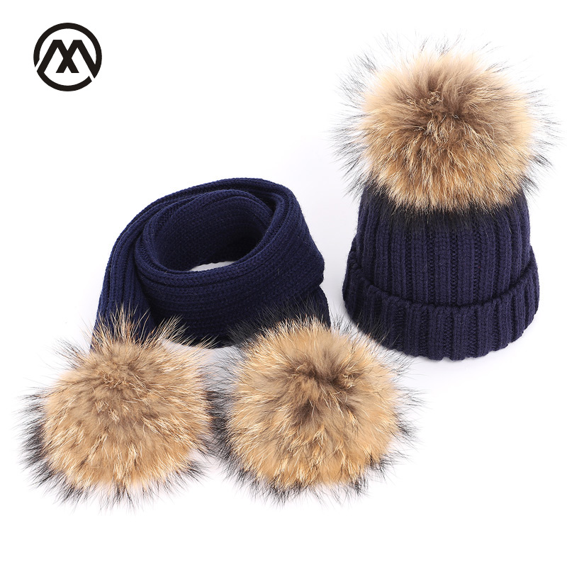 Children's Knitted Cotton Hats Winter Warm And Comfortable Raccoon Fur Pompom Solid Caps Scarf Two-piece Mask Unisex Boy Gril