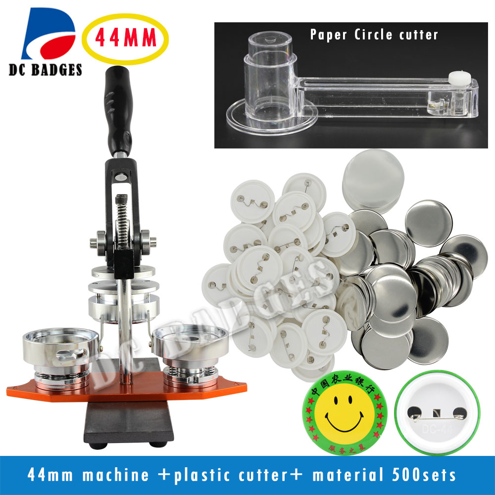 Free Shipping 1.3/4(44mm)  badge Press Machine + Adjust Circle Cutter+500sets plastic  Badge Material анна чапман платье анна чапман