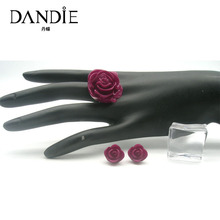 Dandie Fashionable Rose Earrings And Ring Set, Ethnic Jewelry Set Popular New Arrival 2018