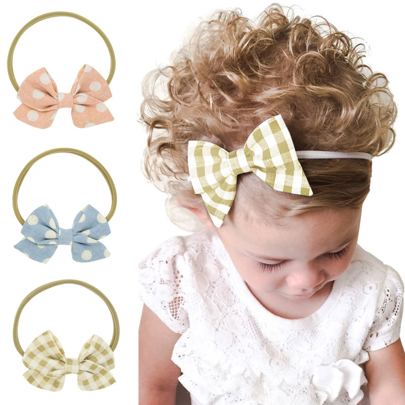 3pcs set New Fashion Little Girls Printed Wave Point Bowknot Headband Set Elastic Hair Bands for