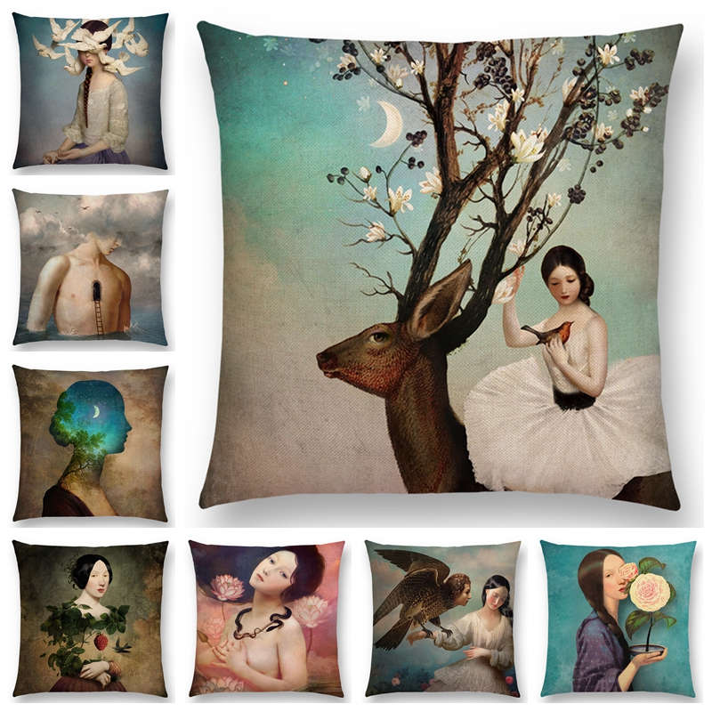 New Elegant lady cute girl Shakespeare imagine Fantasy oil painting dreamy feeling fable fate Thorw Pillow Case Cushion Cover