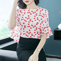 Европа Blusas блузка плюс Размеры 2018 новые летние модные вишни печать шелковая рубашка Для женщин блузки Топы шифон
