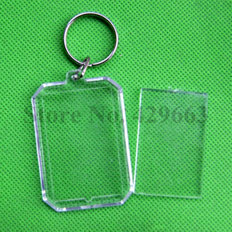600 pieces lot New Octagon Rectangle Blank Acrylic Keychains Clear Plastic Photo Keyrings for Gifts