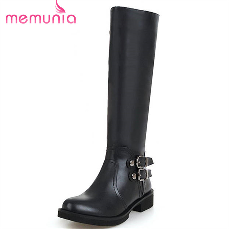 MEMUNIA 2018 new arrive knee high boots women round toe med heels boots zipper with buckle autumn winter booties big size 33-46MEMUNIA 2018 new arrive knee high boots women round toe med heels boots zipper with buckle autumn winter booties big size 33-46