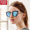 TRIUMPH VISÃO Senhoras Espelho Olho de Gato Óculos De Sol Das Mulheres Marca de Luxo Designer Óculos de Sol Para As Mulheres 2017 Novos Oculos Feminino Shades
