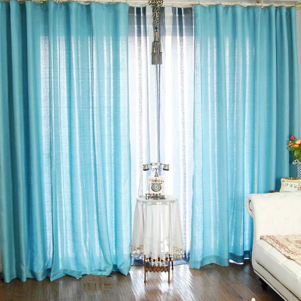 Hot Selling Balcony Linen Blue Curtains For Living Room
