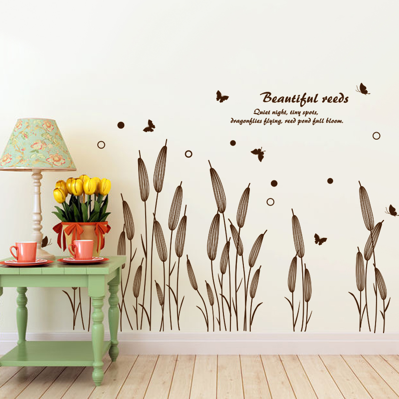 SHIJUEHEZI Abstract Reed Grass Wall Sticker Baseboard Decals For - Wall decals grass
