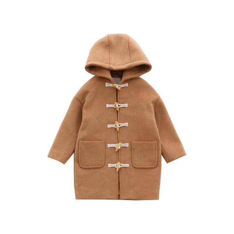 Fashion 2018 Children Woolen Horn Button Coat Blends Children Clothing New Girls Fashion Outerwear Long Coat Thick Warm Blends button up vertical pockets woolen coat