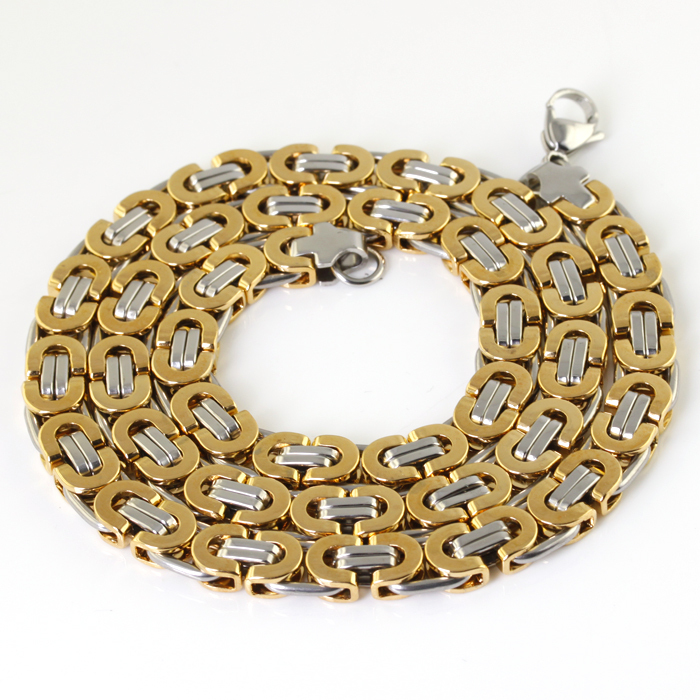 734aee1a57937 US $9.89 10% OFF|Fashion Byzantine Flat chain Men's Necklace Stainless  steel 8mm.24'' Silver Gold-in Chain Necklaces from Jewelry & Accessories on  ...