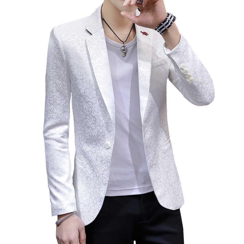 2019 古典的な白ジャカードスーツ男性ジャケットビジネス宴会ドレスジャケットサイズ 3XL 青年男性カジュアルコートスリムなデザイン