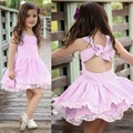 2018 New summer clothes 1-5 y Sleeveless ruffled baby girls dress Cute halter dress with butterfly tie wear outfits 1pcs set