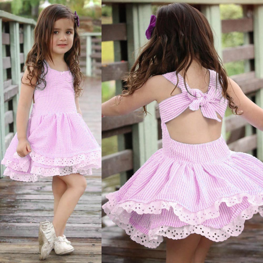 2018 New summer clothes 1-5 y Sleeveless ruffled baby girls dress Cute halter dress with butterfly tie wear outfits 1pcs set white casual round neck ruffled dress