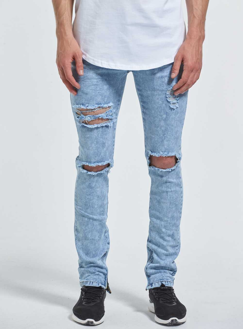 8103ce5bef52 ... 2017 New Ripped Ankle Zipper Skinny Jeans Men Fashion Casual Designer  Brand Urban Distressed Destroyed Hole ...