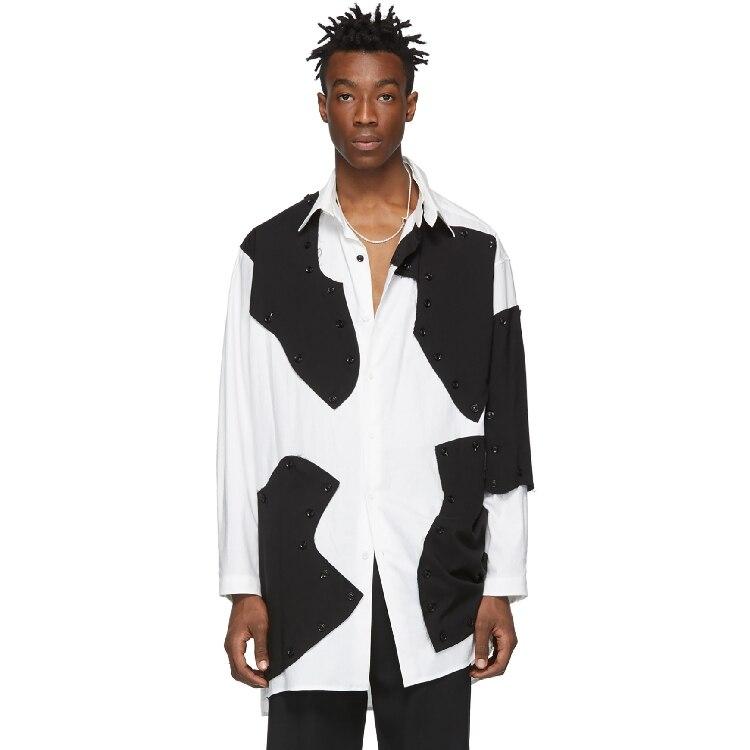 Mannen Shirt Stiksels Blokkerig Losse Asymmetrische Onregelmatigheid Volledige Mouw Vierkante Kraag Patchwork Melkkoe Patroon Ontwerp Shirts
