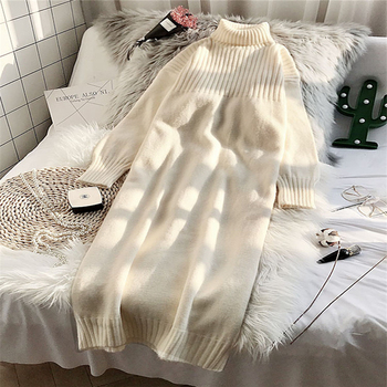 2019 new autumn winter medium length loose turtleneck sweater solid long sleeve thick warm knit pullover shirt women clothing C5