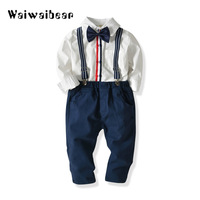 Baby Boy Suits Long Sleeved Clothes Newborn Baby Sets Kids Clothing Gentleman Suit Shirt+Bow Tie+Suspender Trousers