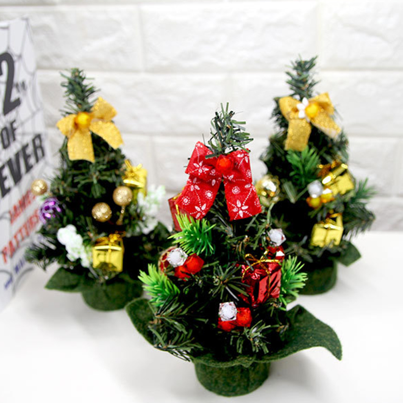 christmas trees home decoration xmas tree ornaments party festival christmas decor supplies 20cm artificial tree random color